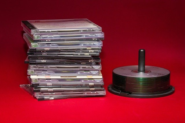 Stack of compact discs - not an actual CD Ladder